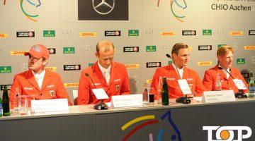 Das deutsche Springreiter-Team bei der Pressekonferenz
