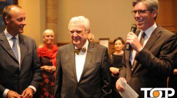 Friedrich Merz, Georg Held und Oberbürgermeister Marcel Philipp beim Empfang der Gäste